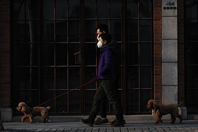 2 men are walking with pets