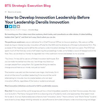 Innovation Leadership Article