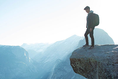 A man standing on the mountain